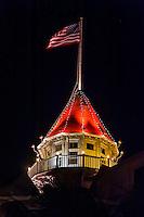 American flag flying, Hotel del Coronado, Coronado Island (San Diego), California USA.