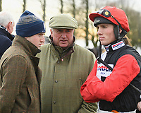 Trainer Paul Nicholls centre with Jockey Harry Cobden during Horse Racing at Wincanton Racecourse on 5th December 2019