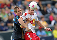 CHESTER, PA - OCTOBER 27, 2012:  Chris Albright (3) of the Philadelphia Union holds up  Kenny Cooper (33) of the New York Red Bulls during an MLS match at PPL Park in Chester, PA. on October 27. Red Bulls won 3-0.