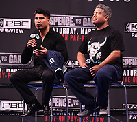 LOS ANGELES - FEBRUARY 16: (L-R) Mikey Garcia, and trainer Robert Garcia attend the Los Angeles press conference for the Spence vs Garcia March 16 Fox Sports PBC PPV fight on February 16, 2019 in Los Angeles, California. The March 16 fight will be at the AT&T Stadium in Dallas, Texas. (Photo by Frank Micelotta/Fox Sports/PictureGroup)