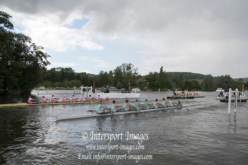 Henley on Thames. United Kingdom.   Semi Final, Princes Elizabeth Challenge Cup, Oxford Station, Westminster School and Eton College   Saturday,  02/07/2016,      2016 Henley Royal Regatta, Henley Reach.   [Mandatory Credit Peter Spurrier/ Intersport Images]