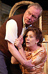"Wendy Ishii, as Gladys, and Tom Sutherland, as Piet, rehearse for the Bas Bleu Theatre Company's production of ""A Lesson From Aloes,"" May 21, 2003."