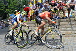 Greg Van Avermaet (BEL) CCC Team and Xandro Meurisse (BEL) Wanty-Groupe Gobert first up the Muur in Geraardsbergen during Stage 1 of the 2019 Tour de France running 194.5km from Brussels to Brussels, Belgium. 6th July 2019.<br /> Picture: Colin Flockton | Cyclefile<br /> All photos usage must carry mandatory copyright credit (© Cyclefile | Colin Flockton)