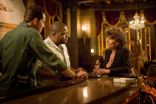 Cole Hauser as Trevor Cobb and Anthony Anderson as Marlin Boule speak to Adrienne Barbeau as Marquetta Dinovi in Fox Television's 'K-Ville' - a police drama set in New Orleans after Hurricane Katrina.