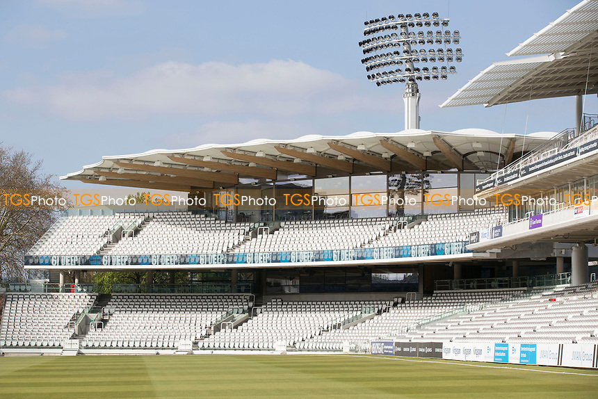 A general shot of the Lords Cricket Ground during Middlesex CCC vs Lancashire CCC, Specsavers County Championship Division 2 Cricket at Lord's Cricket Ground on 11th April 2019