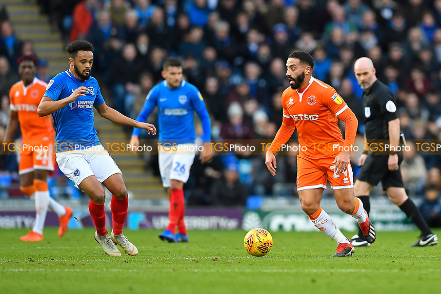 Liam Feeney of Blackpool looks to set up an attack during Portsmouth vs Blackpool, Sky Bet EFL League 1 Football at Fratton Park on 12th January 2019
