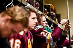 ST PAUL, MN - APRIL 7: Jared Thomas #22 of the Minnesota-Duluth Bulldogs prepares to take on the Notre Dame Fighting Irish during the Division I Men's Ice Hockey Semifinals held at the Xcel Energy Center on April 7, 2018 in St Paul, Minnesota. (Photo by Tim Nwachukwu/NCAA Photos via Getty Images)