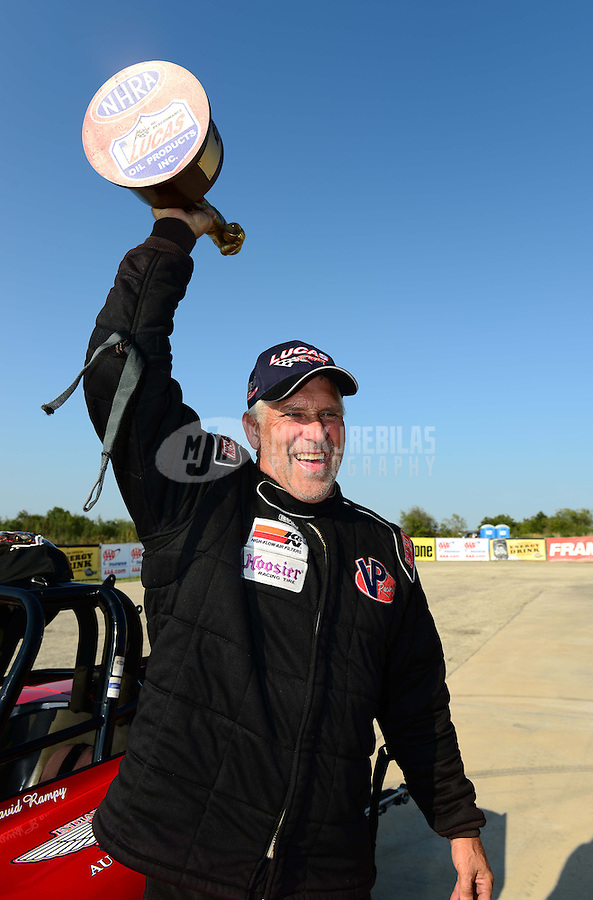 Sept. 23, 2012; Ennis, TX, USA: NHRA competition eliminator driver David Rampy celebrates after winning the Fall Nationals at the Texas Motorplex. Mandatory Credit: Mark J. Rebilas-US PRESSWIRE