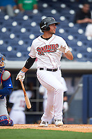 Nashville Sounds right fielder Matt Olson (21) at bat during a game against the Iowa Cubs on May 4, 2016 at First Tennessee Park in Nashville, Tennessee.  Iowa defeated Nashville 8-4.  (Mike Janes/Four Seam Images)