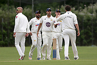Charles El-Nemer of Crouch End celebrates with his team mates after taking the third Waltham wicket during Crouch End CC (fielding) vs Waltham CC, ECB National Club Championship Cricket at The Calthorpe Ground on 9th June 2019