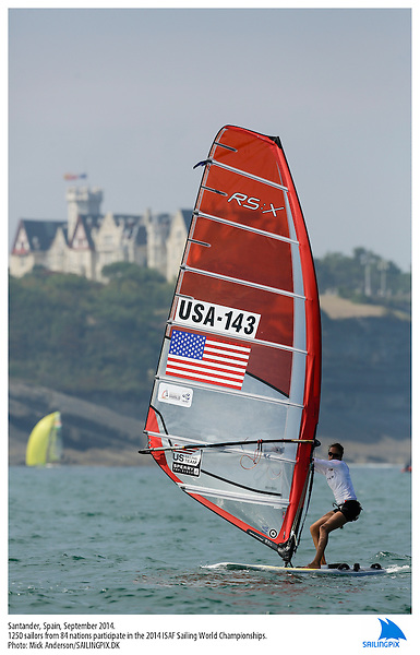20140912, Santander, Spain: 2014 ISAF SAILING WORLD CHAMPIONSHIPS - More than 1,250 sailors in over 900 boats from 84 nations will compete at the Santander 2014 ISAF Sailing World Championships from 8-21 September 2014. The best sailing talent will be on show and as well as world titles being awarded across ten events 50% of Rio 2016 Olympic Sailing Competition places will be won based on results in Santander. Boat class and Sailor(s): RS:X Women - USA143 - Marion LEPERT. Photo: Mick Anderson/SAILINGPIX.DK.