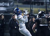 NWA Democrat-Gazette/CHARLIE KAIJO North Little Rock wide receiver Bralin Battles (88) completes a pass, Friday, November 29, 2019 during the Class 7A semifinal at Bentonville High School in Bentonville.
