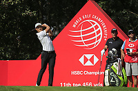 Haotong Li (CHN) on the 11th tee during round 1 at the WGC HSBC Champions, Sheshan Golf Club, Shanghai, China. 31/10/2019.<br /> Picture Fran Caffrey / Golffile.ie<br /> <br /> All photo usage must carry mandatory copyright credit (© Golffile | Fran Caffrey)