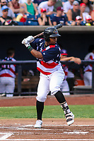 Quad Cities River Bandits outfielder Corey Julks (15) at bat during a Midwest League game against the Peoria Chiefs on May 27, 2018 at Modern Woodmen Park in Davenport, Iowa. Quad Cities defeated Peoria 8-3. (Brad Krause/Four Seam Images)