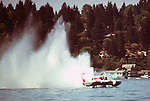 The Pay n' Pak was the first turbine powered unlimited hydro to win a race. Seen here with John Walters behind the wheel, the boat is floating down the front straight of the course at Lake Washington in Seattle, WA. Unfortunately the boat never had a consistent ride and never could use all of the horsepower that it had. That came later with other teams.