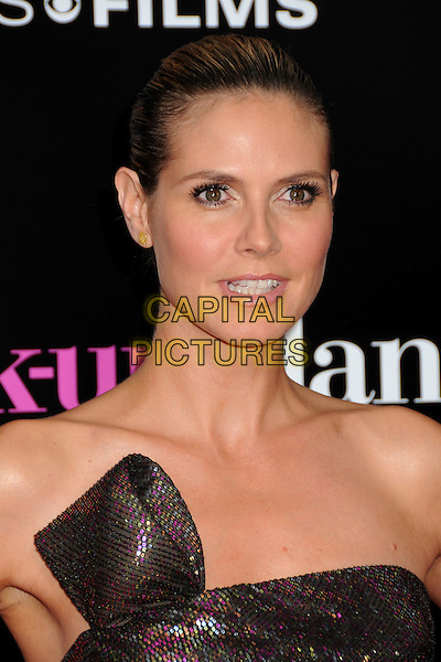 "HEIDI KLUM.""The Back-up Plan"" Los Angeles Premiere held at the Regency Village Theatre, Westwood, California, USA,.21st April 2010..arrivals portrait headshot hair scarped up back make-up beauty strapless brown shimmery shiny sparkly bronze gold pink purple sequined sequin green khaki mouth open .CAP/ADM/BP.©Byron Purvis/AdMedia/Capital Pictures."