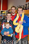 SNAKE: Petmania was in full swing on it open week-end as Ian and David Rutland got to see the the Alibno Pyton in the store on Sunday holding the Alibno Python were Luke Swton and Trevor Cloonan (Manager)...............   Copyright Kerry's Eye 2008