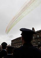 NAPOLI 28/03/2013 908 ANNIVERSARIO DELLA'ACCADEMIA AERONAUTICA .NELLA FOTO FRECCE TRICOLRI.FOTO CIRO DE LUCA..