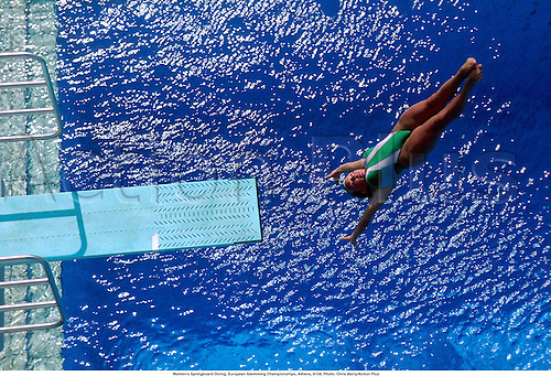 Women's Springboard Diving, European Swimming Championships, Athens, 9108. Photo: Chris Barry/Action Plus...1991.watersports.dive.girl.woman.watersport.diver.divers.