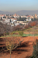 Traditional houses of El Albayzin, the medieval Moorish old town of Granada, seen in the distance from the Alhambra Palace, Granada, Andalusia, Southern Spain. From the 8th to the 15th centuries, Granada was under muslim rule and retains a distinctive Moorish heritage. Granada was listed as a UNESCO World Heritage Site in 1984. Picture by Manuel Cohen