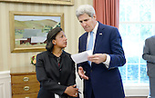 United States Secretary of State John Kerry speaks with National Security Adviser Susan Rice during a bilateral meeting in the Oval Office of the White House between US President Barack Obama and King Salman bin Abd alAziz of Saudi Arabia at the White House September 4, 2015 in Washington, D.C.<br /> Credit: Olivier Douliery / Pool via CNP