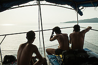 February 18, 2013 - Koh Rong (Sihanoukville). A double - deck boat became the unit's first military dive station off the coast of Koh Rong. © Thomas Cristofoletti / Ruom