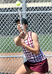 NAUGATUCK CT. 17 April 2019-041719SV08-Cristina Reso of Naugatuck High returns a shot to Hannah Dumbrowski of Sacred Heart during tennis action in Naugatuck Wednesday.<br /> Steven Valenti Republican-American