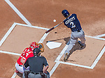 23 August 2015: Milwaukee Brewers infielder Scooter Gennett in action against the Washington Nationals at Nationals Park in Washington, DC. The Nationals defeated the Brewers 9-5 in the third game of their 3-game weekend series. Mandatory Credit: Ed Wolfstein Photo *** RAW (NEF) Image File Available ***