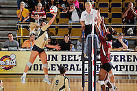 17 November 2011:  FIU outside hitter Jovana Bjelica (16) hits a kill shot in the first set as the FIU Golden Panthers defeated the Denver University Pioneers, 3-1 (25-21, 23-25, 25-21, 25-18), in the first round of the Sun Belt Conference Tournament at U.S Century Bank Arena in Miami, Florida.
