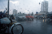 Rain and traffic in Mexico City