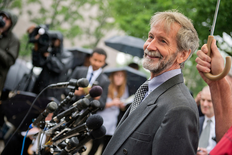 UNITED STATES - MAY 21: Doug Hughes conducts a news conference outside of the E. Barrett Prettyman Federal Courthouse, May 21, 2015, after pleading not guilty to six counts regarding his landing of a gyrocopter on the West Lawn of the Capitol in April. (Photo By Tom Williams/CQ Roll Call)