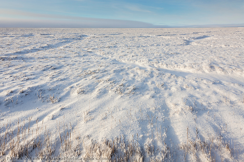 Polygon shapes visible in the snow covered tundra of Alaska's Arctic North Slope.