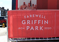 Barriers in place ahead of kick-off with the message, Farewell Griffin Park during Brentford vs Swansea City, Sky Bet EFL Championship Play-Off Semi-Final 2nd Leg Football at Griffin Park on 29th July 2020