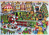 Interlitho-Theresa, CHRISTMAS SANTA, SNOWMAN, WEIHNACHTSMÄNNER, SCHNEEMÄNNER, PAPÁ NOEL, MUÑECOS DE NIEVE, paintings+++++,santa, lok, marktplatz,KL6132,#x#
