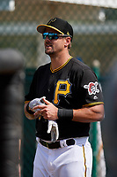 Pittsburgh Pirates Lonnie Chisenhall (5) during the teams first Spring Training practice on February 18, 2019 at Pirate City in Bradenton, Florida.  (Mike Janes/Four Seam Images)