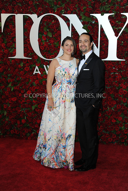 www.acepixs.com<br /> June 12, 2016  New York City<br /> <br /> Vanessa Nadal and Lin-Manuel Miranda attending the 70th Annual Tony Awards at The Beacon Theatre on June 12, 2016 in New York City.<br /> <br /> Credit: Kristin Callahan/ACE Pictures<br /> <br /> <br /> Tel: 646 769 0430<br /> Email: info@acepixs.com