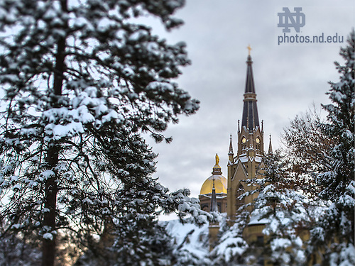 Feb. 2, 2015; Dome and Basilica after a snowfall.  (Photo by Matt Cashore/University of Notre Dame)