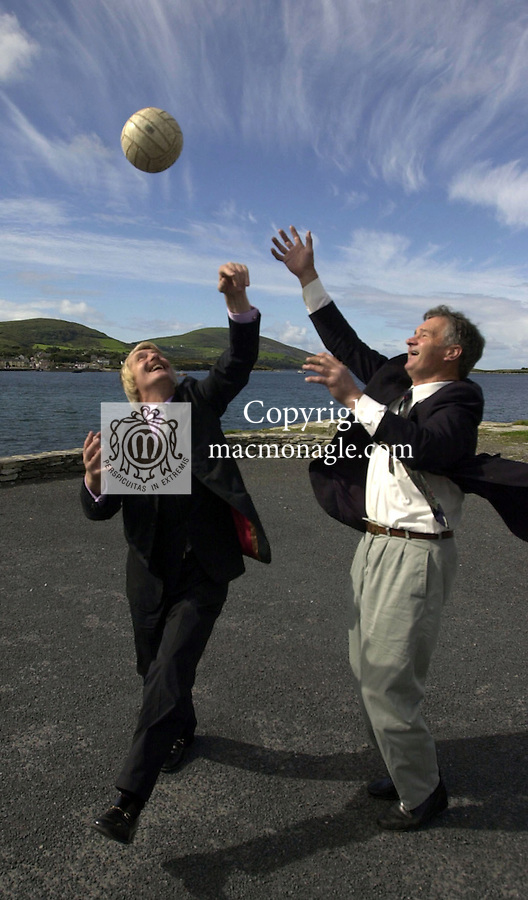 Aengus Fanning, Editor of the Sunday Independent who died on Tuesday. A native of Tralee in County Kerry Mr. Fanning is survived by his wife Anne and sons Dion, Evan and Steve. .Photo shows Aengus with renowned Kerry footballer  Mick O'Connell at Renard Point overlooking Knightstown, Valentia Island, Co. Kerry..Picture by Don MacMonagle