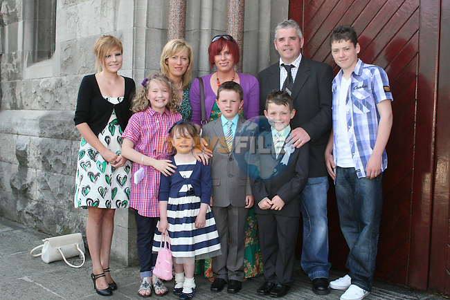 Neighbours, Pádraic Downey and Conor Tiernan with their families at the St. Marys Congress Avenue Communion in St. Marys Church...Photo NEWSFILE/Jenny Matthews.(Photo credit should read Jenny Matthews/NEWSFILE)....This Picture has been sent you under the condtions enclosed by:.Newsfile Ltd..The Studio,.Millmount Abbey,.Drogheda,.Co Meath..Ireland..Tel: +353(0)41-9871240.Fax: +353(0)41-9871260.GSM: +353(0)86-2500958.email: pictures@newsfile.ie.www.newsfile.ie.FTP: 193.120.102.198.