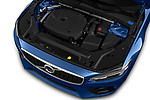Car stock 2018 Volvo V90 R-Design AWD T6  5 Door Wagon engine high angle detail view