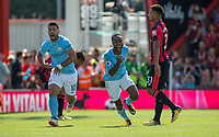Raheem Sterling of Manchester City celebrates scoring an injury time winning goal with Sergio Aguero of Manchester City during the Premier League match between Bournemouth and Manchester City at the Goldsands Stadium, Bournemouth, England on 26 August 2017. Photo by Andy Rowland.