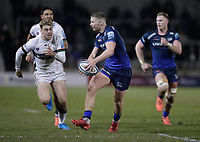 6th March 2020; AJ Bell Stadium, Salford, Lancashire, England; Gallagher Premiership Rugby, Sale Sharks versus London Irish;  Rob du Preez of Sale Sharks finds space and breaks through the Irish line and passes to  Luke James of Sale Sharks who goes on to score
