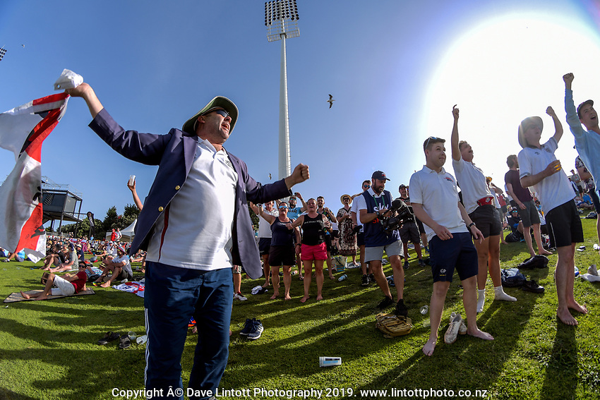 The Barmy Army celebrate the dismissal of Kane Williamson during day two of the international cricket 1st test match between NZ Black Caps and England at Bay Oval in Mount Maunganui, New Zealand on Friday, 22 November 2019. Photo: Dave Lintott / lintottphoto.co.nz