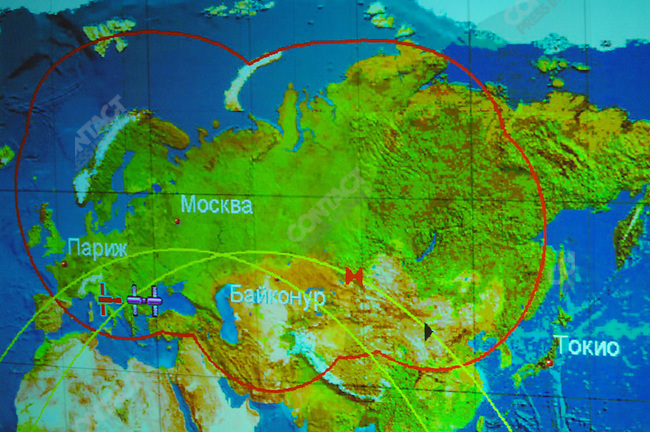 A screen at Mission Control Centre in Korolyev, outside of Moscow, showed a map plotting the course of the International Space Station and the Soyuz TMA-12 spacecraft minutes before they were due to dock. Russia, April 10, 2008