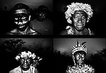 Panambizinho, Guarani reserve. Portraits of Guaranies dressed up as warriors during a demonstration for land stolen by the plantation owners.