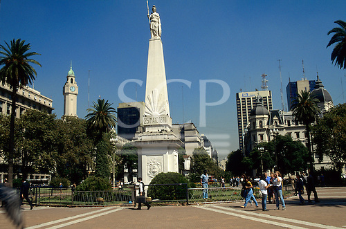 Buenos Aires, Argentina. Plaza de Mayo with the monument to the 25th May 1810, Independence Day.