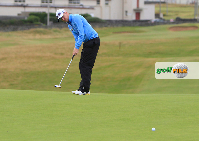 Simon Ward (Co. Louth) on the 1st green during the South of Ireland Amateur Open Championship Semi-Finals at Lahinch Golf Club  31th July 2013 <br /> Picture:  Thos Caffrey / www.golffile.ie