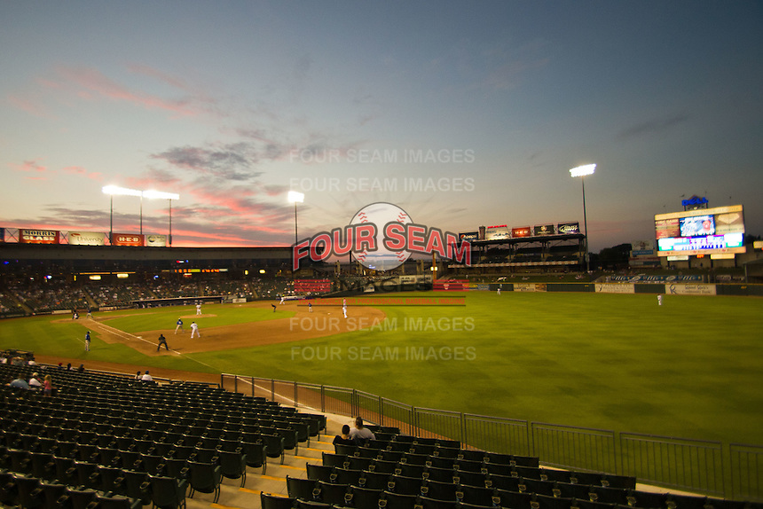 Sunset at the Dell Diamond in Round Rock, Texas on August 7th, 2012. Pacific Coast League baseball game featuring the Las Vegas 51s at the Round Rock Express. (Andrew Woolley/Four Seam Images).