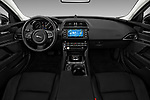 Stock photo of straight dashboard view of a 2018 Jaguar XE Base 4 Door Sedan