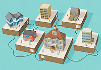 Connected buildings in a town ExclusiveImage